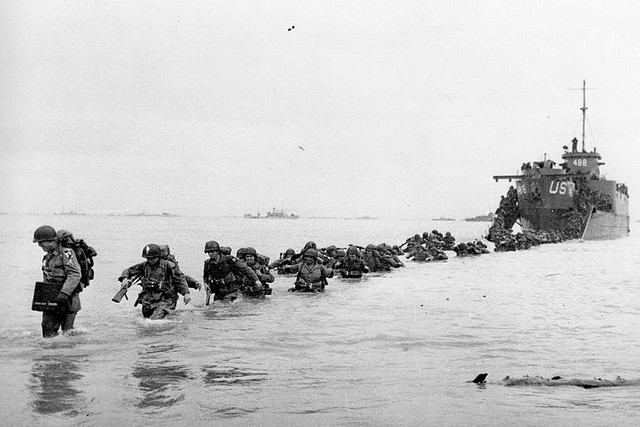 D-Day soldiers coming ashore.